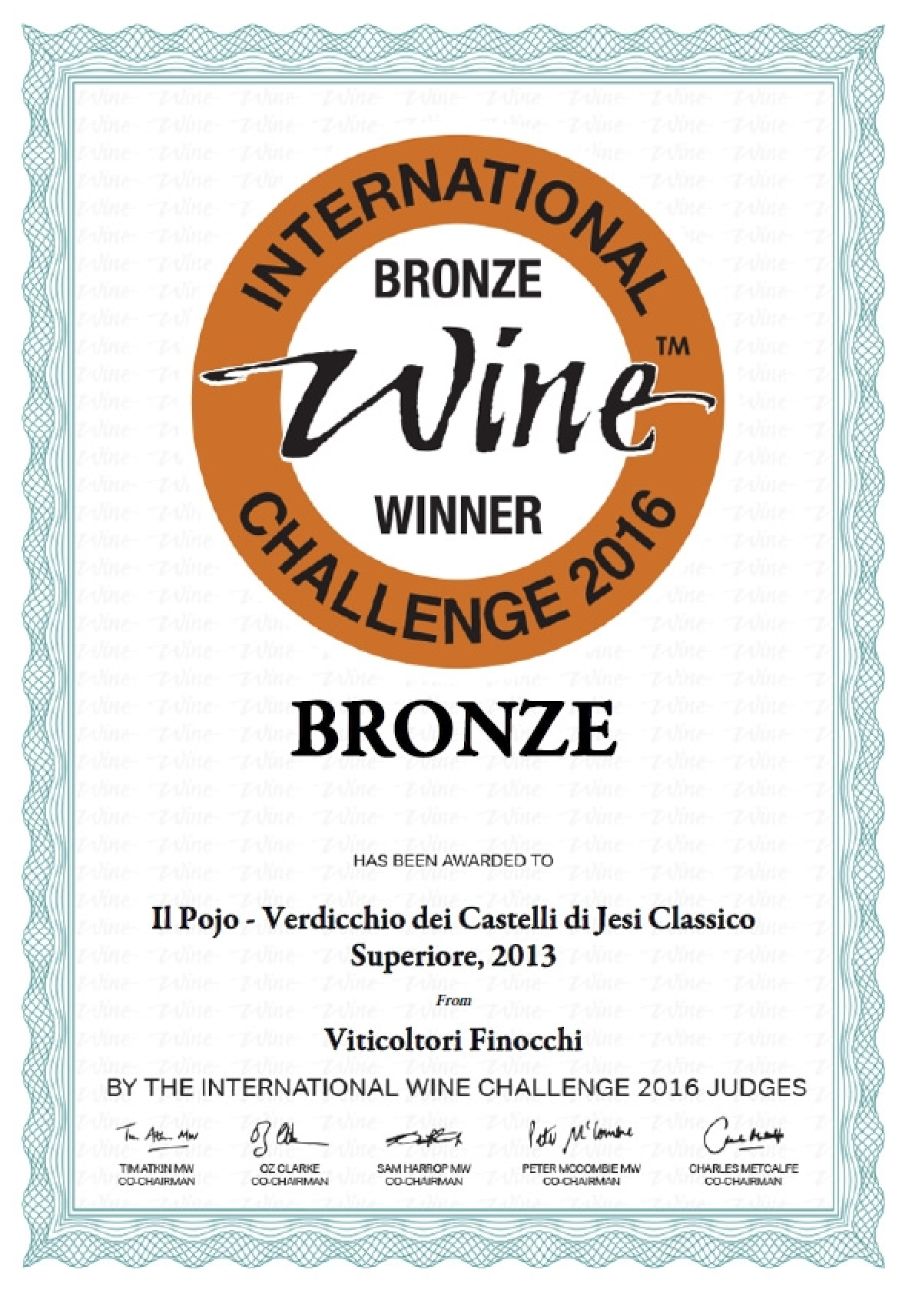 Medaglia di Bronzo all'International Wine Challenge 2016 - Il Pojo