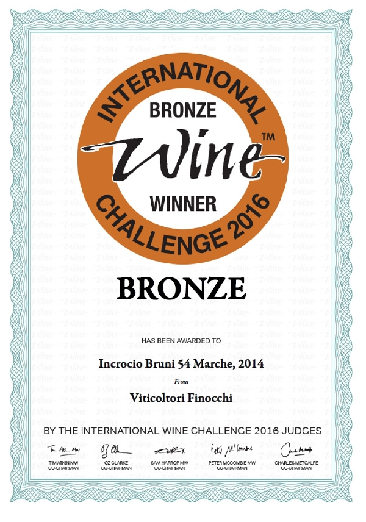 Medaglia di Bronzo all'International Wine Challenge 2016 - Incrocio Bruni 54