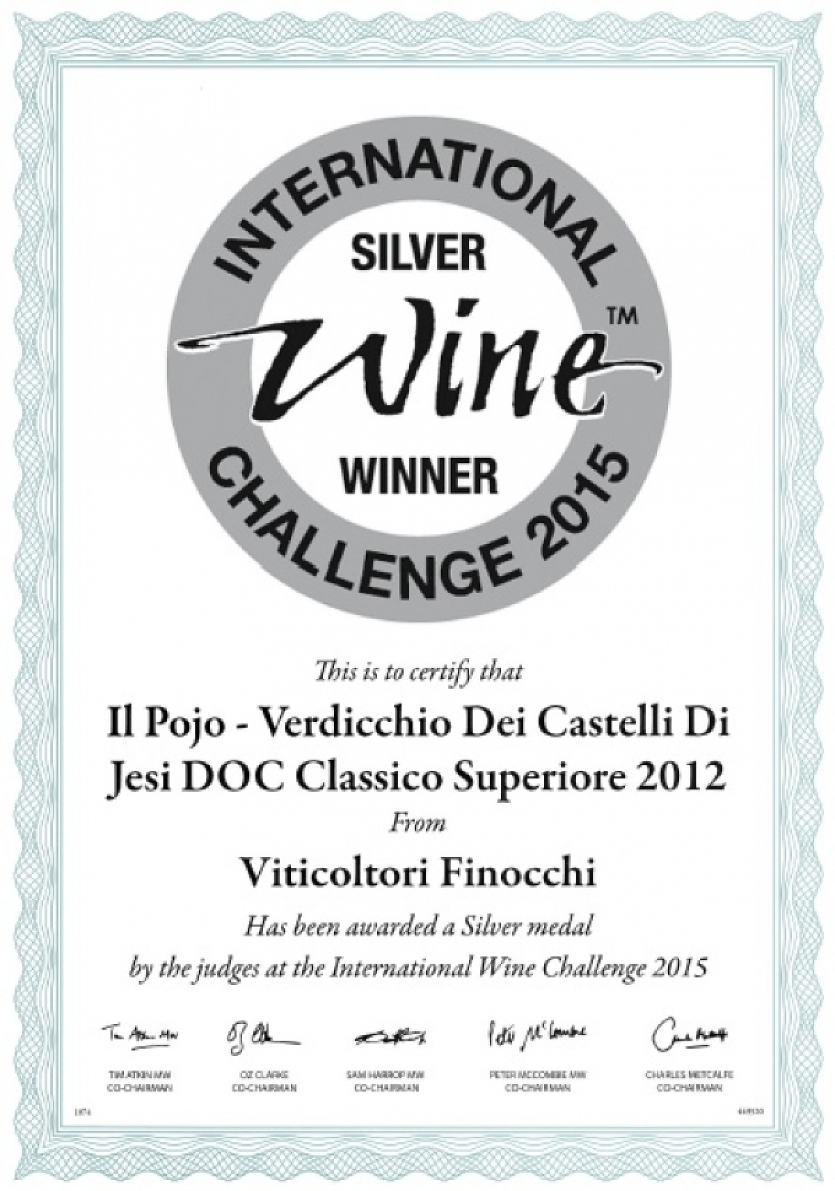Medaglia d'Argento all'International Wine Challenge 2015